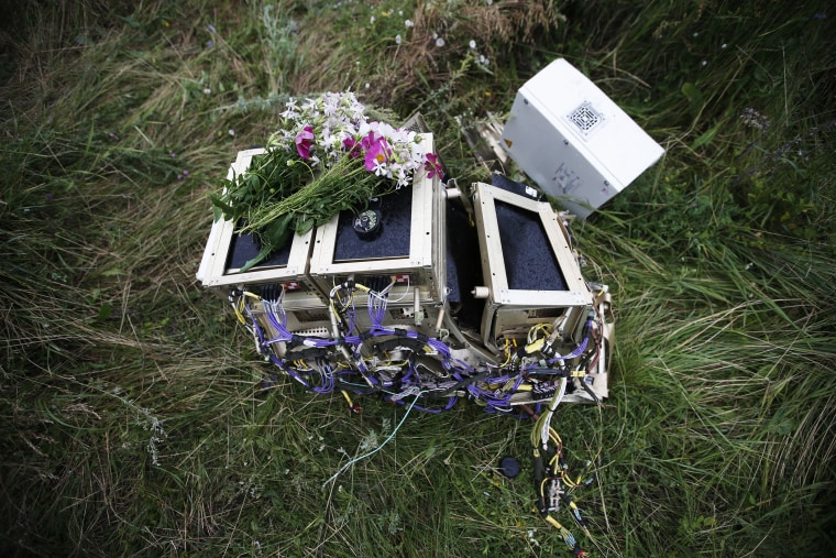 Flowers lie on debris from a Malaysian Airlines Boeing 777 plane which was downed on Thursday near the village of Rozsypne, in the Donetsk region July 18, 2014.