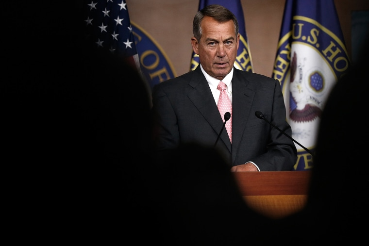 John Boehner holds his weekly press conference July 17, 2014 in Washington, DC.