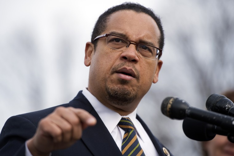 Rep. Keith Ellison, D-Minn., speaks at a news conference, Dec. 20, 2012, in Washington, D.C.