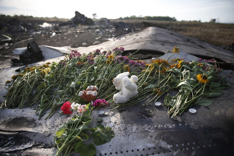Flowers and mementos lie on wreckage at the crash site of Malaysia Airlines Flight MH17, near the settlement of Grabovo in the Donetsk region of Ukraine, July 19, 2014.