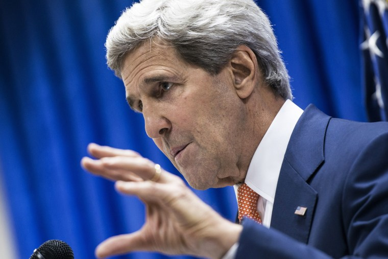 US Secretary of State John Kerry speaks during a press conference, June 23, 2014, in the Iraqi capital Baghdad.