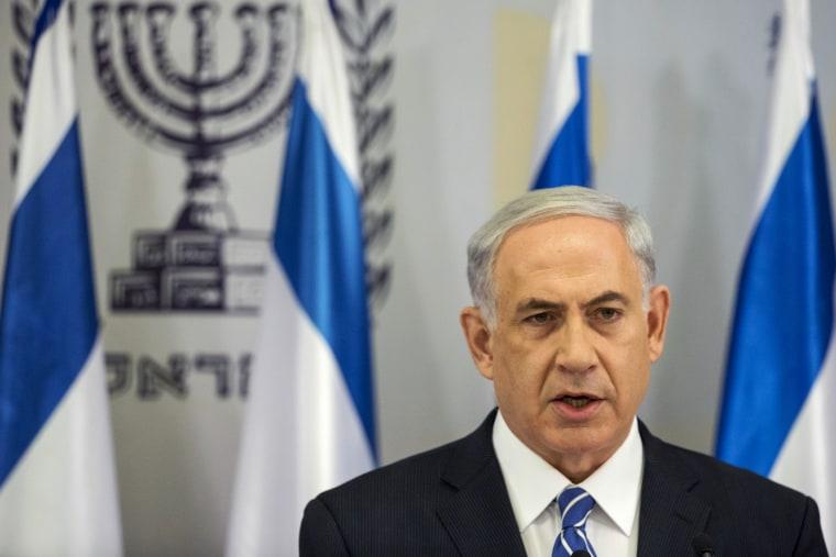 Israeli Prime Minister Benjamin Netanyahu delivers a statement in Tel Aviv, Israel on June 14, 2014.