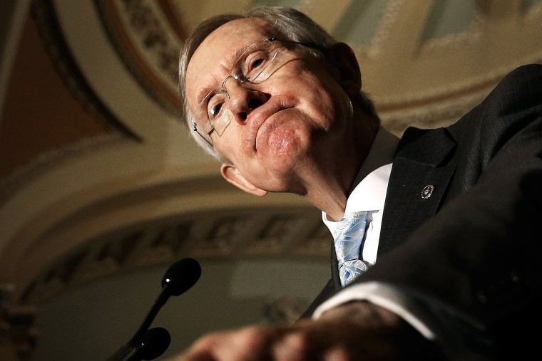 Senate Majority Leader Harry Reid speaks at a press conference, July 15, 2014 at the U.S. Capitol in Washington, DC.