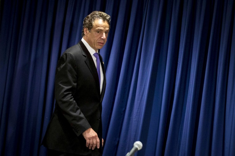 New York Governor Andrew Cuomo arrives for a news conference in Midtown Manhattan, July 17, 2014.