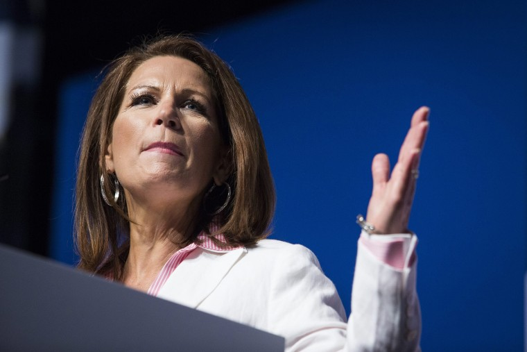 """U.S. Rep. Michele Bachmann of Minnesota speaks during the Faith and Freedom Coalition's \""""Road to Majority\"""" conference in Washington, Friday, June 20, 2014."""