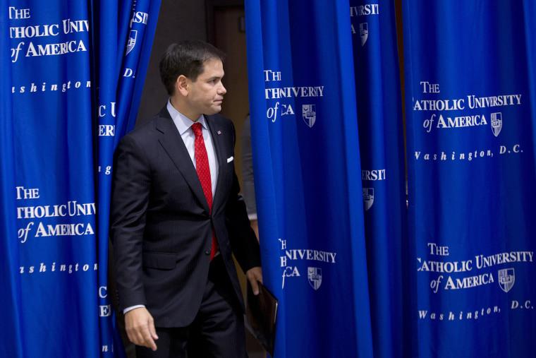 Sen. Marco Rubio, R-Fla., arrives to speak at the Catholic University of America, in Washington, Wednesday, July 23, 2014.