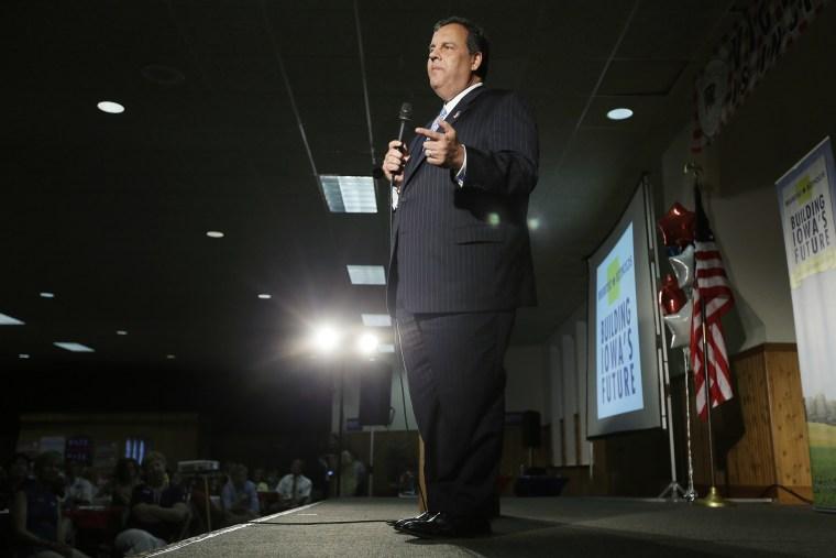 New Jersey Gov. Chris Christie speaks during fundraiser for Iowa Gov. Terry Branstad, July 17, 2014, in Davenport, Iowa.