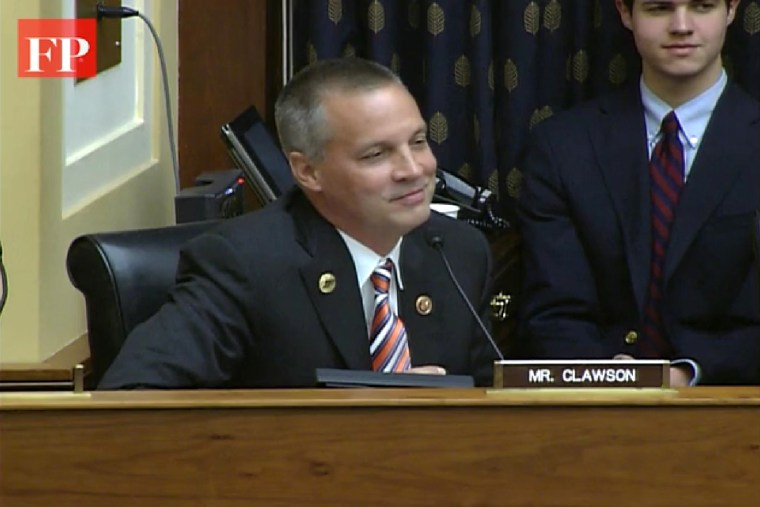 Florida Republican Rep. Curt Clawson in a frame captured from a video of the House Foreign Affairs Committee on Thursday, July 24, 2014.