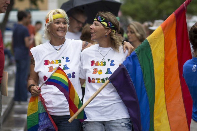 Kimmy Denny and her partner, Barb Lawrence, drove three hours for the to be at the court hearing on gay marriage in Miami, Fla., July 2, 2014.