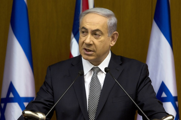 Israeli Prime Minister Benjamin Netanyahu speaks during joint statements with British Foreign Secretary Philip Hammond at the Knesset, Israel's parliament in Jerusalem, July 24, 2014.