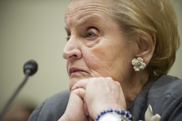 Former US Secretary of State Madeleine Albright testifies on Capitol Hill in Washington, DC, May 21, 2013.