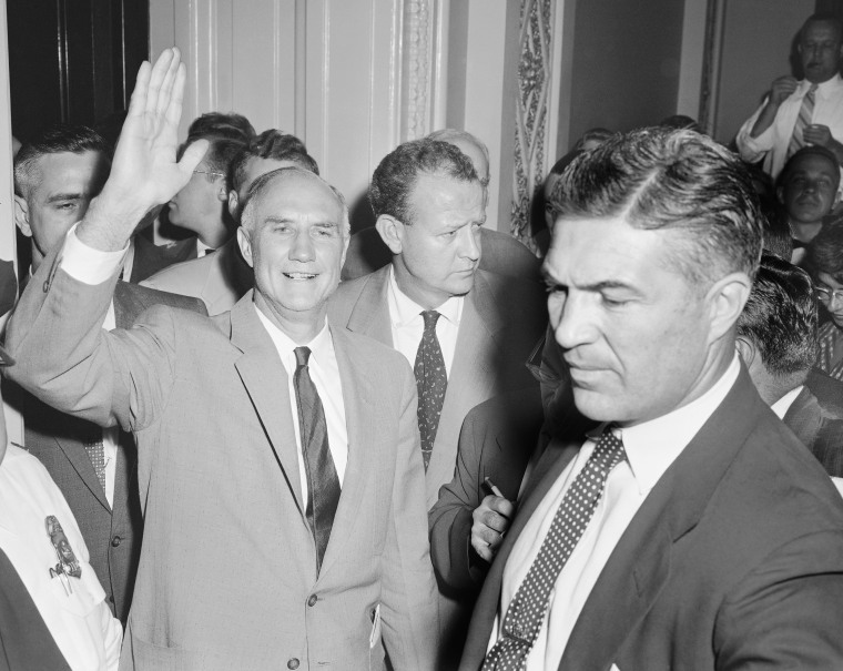 Sen. Strom Thurmond, D-SC, gives a wave as he leaves the Senate chamber, August 29, 1957 at end of his 24 hour, 19 minute one-man filibuster against the compromise civil rights bills.