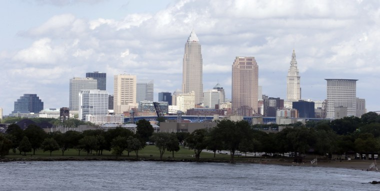 A view of my hometown on July 8, three days before LeBron James announced he will return to the Cavaliers. Surprisingly, the city remained intact. (AP Photo/Tony Dejak)