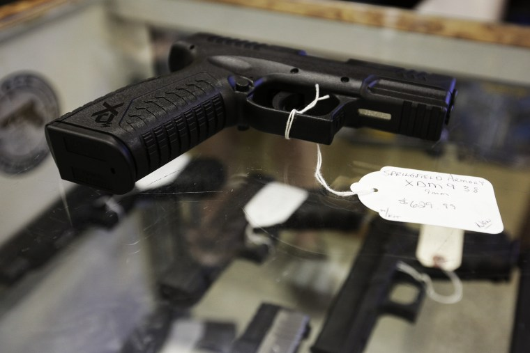 A hand gun  is seen at The Shooter Shop in West Allis, Wisconsin