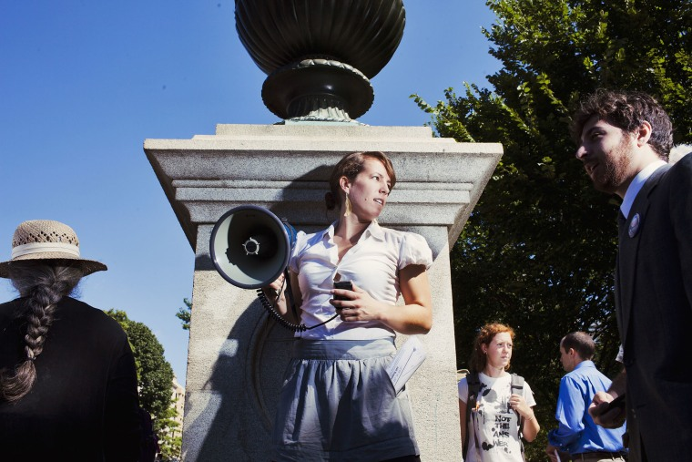 An environmental activist protesting the Keystone pipeline is seen in Washington, D.C.