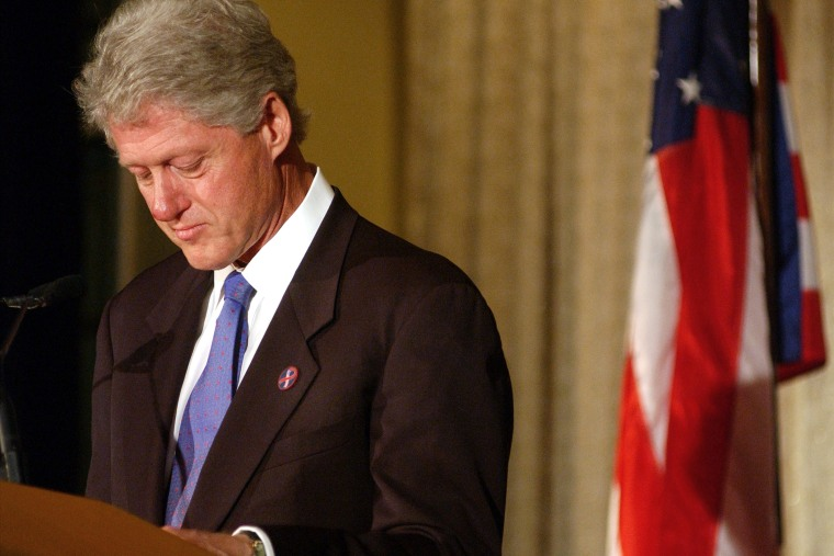 Former U.S. President Bill Clinton pauses while speaking about terrorist attacks on the World Trade Center and the Pentagon September 20, 2001 at a Foreign Policy Association award ceremony in New York, N.Y.