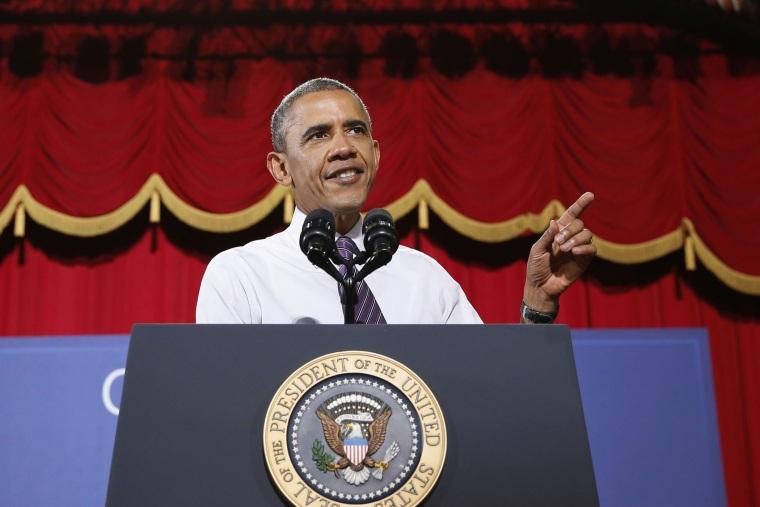 U.S. President Barack Obama speaks at the Uptown Theater in Kansas City, Missouri, July 30, 2014.