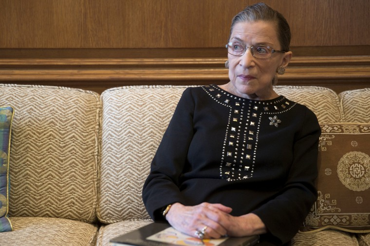 Ruth Bader Ginsburg pauses while talking in her chambers following an interview in Washington, D.C.