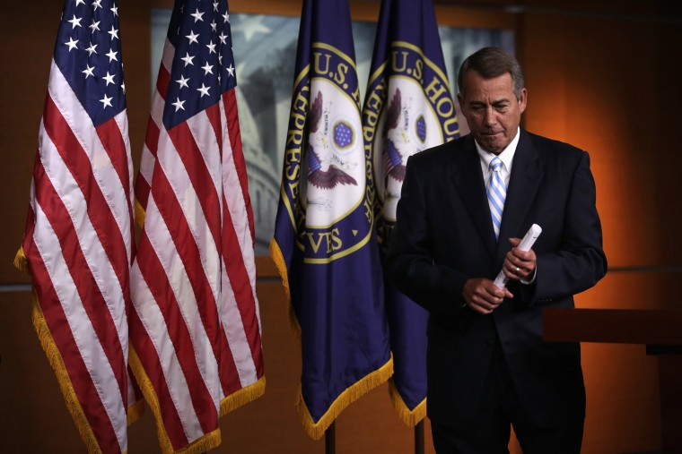 Speaker of the House Rep. John Boehner (R-OH) leaves after a press briefing on July 31, 2014 on Capitol Hill in Washington, DC.