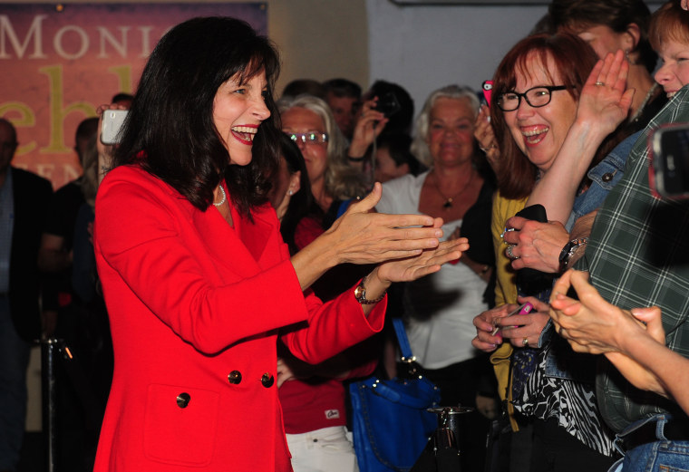 Dr. Monica Wehby greets supporters at the headquarters in Oregon City after winning the Oregon Republican Primary race for Senate, May 20, 2014.