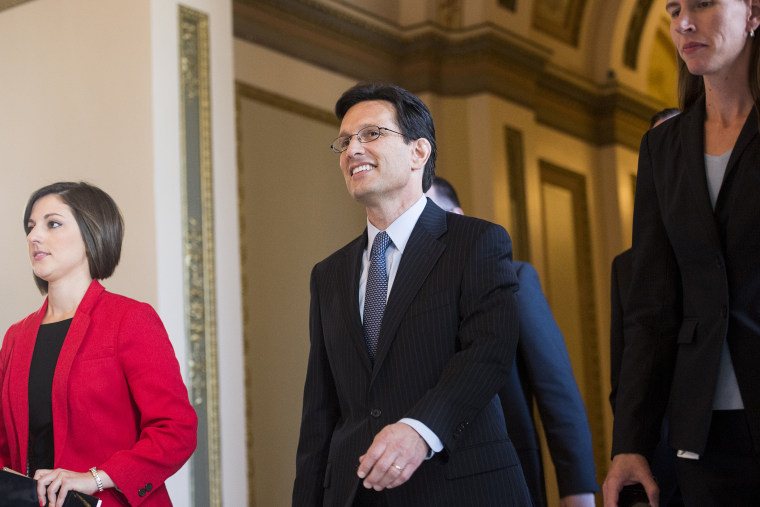 Eric Cantor walks from the House floor after delivering his final speech as Majority Leader on Thursday, July 31, 2014.