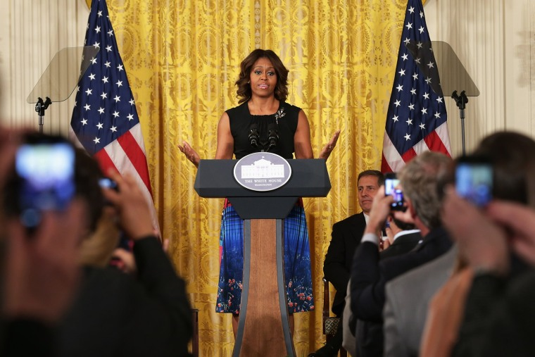 U.S. first lady Michelle Obama announces the creation of the Mayors Challenge to End Veterans Homelessness, June 4, 2014 in Washington, DC.