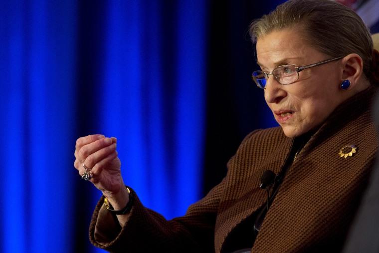 Supreme Court Justice Ruth Bader Ginsburg speaks in Reston, Va., Dec. 17, 2013.