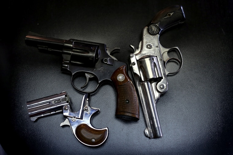 A detail view of pistols in Dallas, Texas.