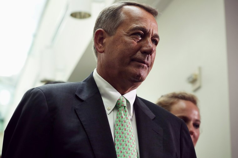 U.S. Speaker of the House Rep. John Boehner (R-OH) leaves after a House Republican Conference meeting August 1, 2014 on Capitol Hill in Washington, DC.