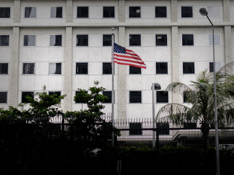 The US flag flutters in front of the US consulate in Hong Kong on June 10, 2013.