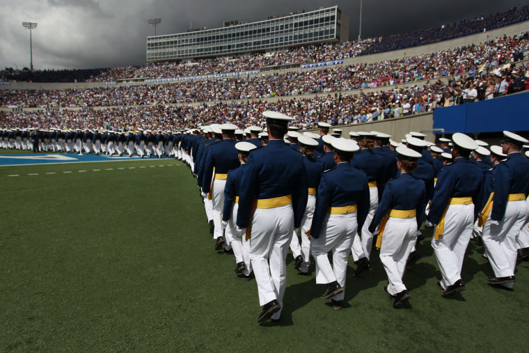 Graduating Air Force cadets march into the football stadium at the start of the commencement ceremony at the U.S. Air Force Academy in Colorado, May 29, 2013.
