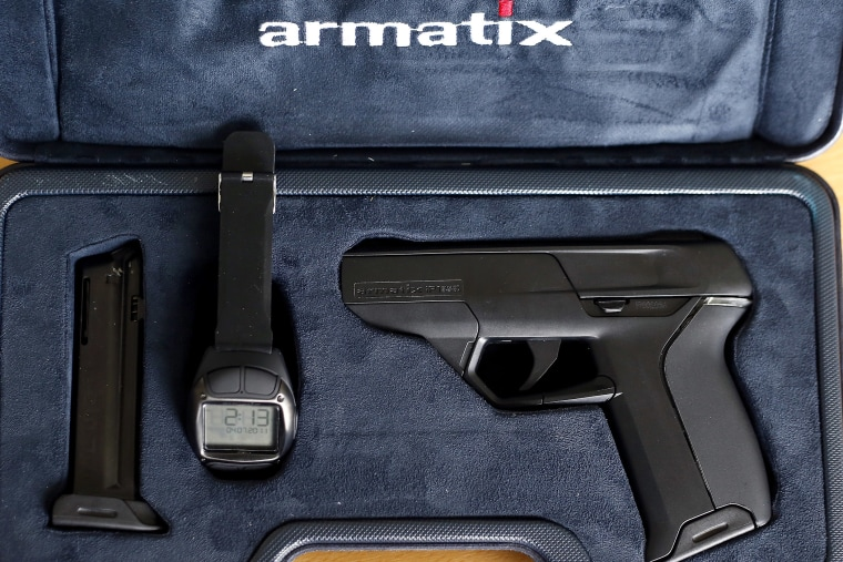 A smart gun by Armatix is pictured at the Armatix headquarters in Munich May 14, 2014.