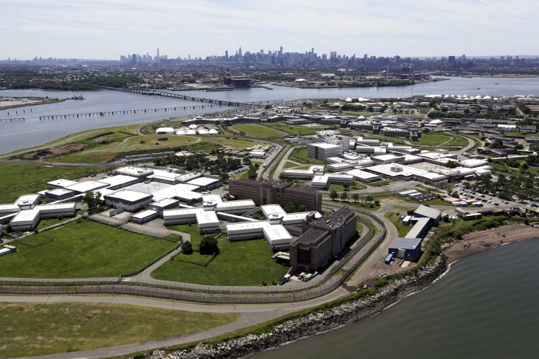 Aerial photo of Riker's Island jail in New York, June 20, 2014.