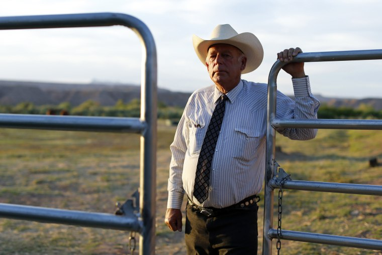 Rancher Cliven Bundy stands near a metal gate on his 160 acre ranch in Bunkerville, Nevada May 3, 2014.