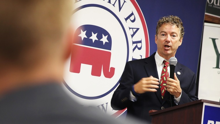 U.S. Rand Paul (R-KY) speaks at an event hosted by the Iowa GOP Des Moines Victory Office on August 6, 2014 in Urbandale, Iowa.
