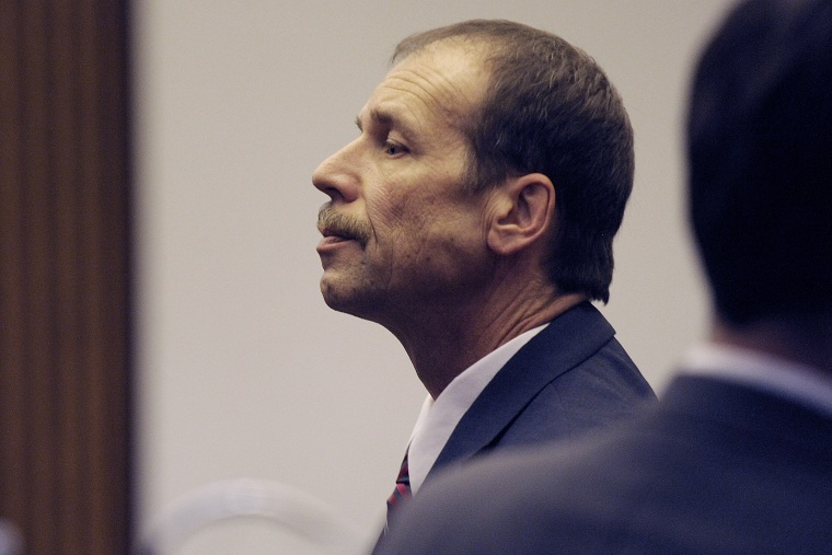 Theodore Wafer pauses at the end of Day 3 of his trial, on July 28, 2014, Detroit, Mich.