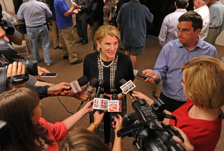 West Virginia Rep. Shelley Moore Capito speaks to the media after winning the Republican primary for US Senate seat, Kanawha County Clerks Voter Registration Office, Charleston, May 13, 2014.