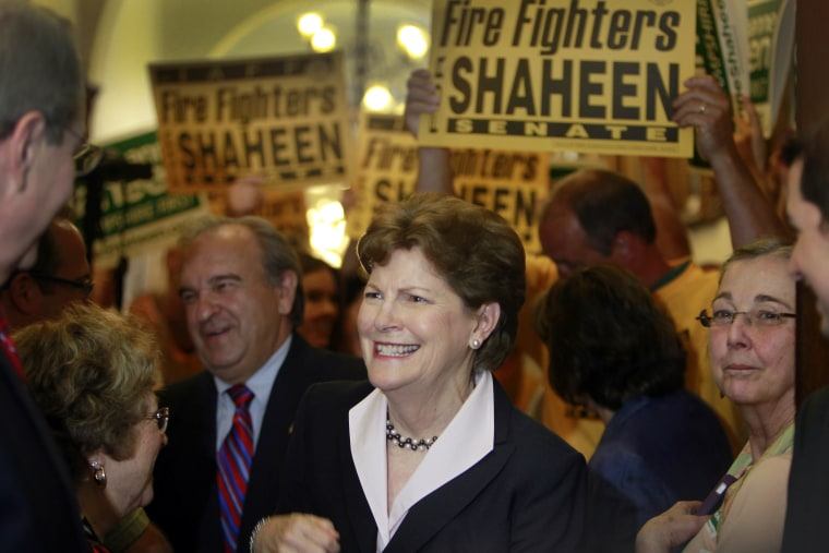 U.S. Sen. Jeanne Shaheen (D-N.H.) is surrounded by supporters as she arrives at the Secretary of State's office in Concord, N.H. to file her campaign paperwork to seek re-election, June 9, 2014.