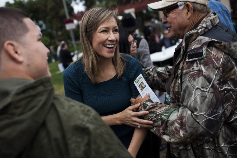 Amanda Renteria with supporters at a campaign event in Sanger, CA, April 26, 2014.