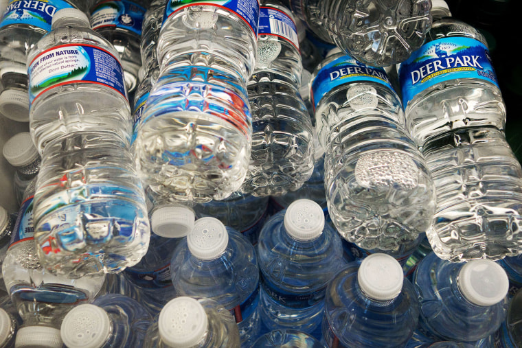 Bottles of water for sale.
