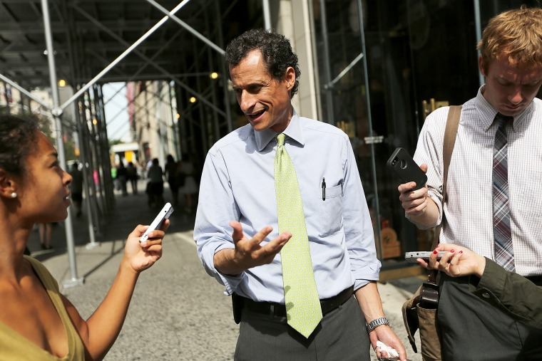 Anthony Weiner speaks to reporters in New York City, Sept. 9, 2013.