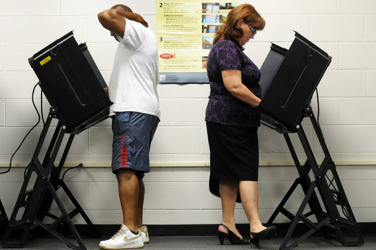Voters at the polls in Wilson, North Carolina, October 18, 2012.