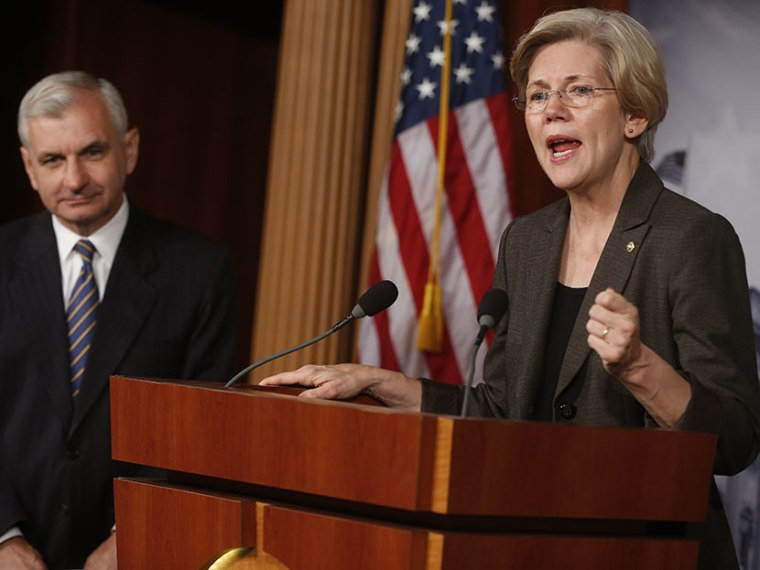 Sen. Jack Reed, D-R.I., and Sen. Elizabeth Warren, D-Mass., speak about Richard Cordray and the upcoming vote on his confirmation as the director of the Consumer Financial Protection Bureau at a news conference in Washington, Tuesday, July 16, 2013.