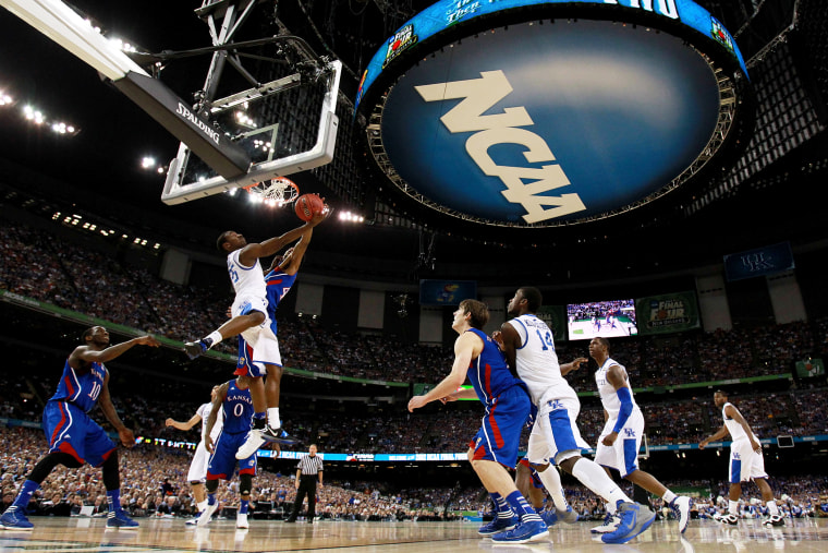 The NCAA logo is seen as the Kentucky Wildcats play against the Kansas Jayhawks in the National Championship Game of the 2012 NCAA Division I Men's Basketball Tournament on April 2, 2012 in New Orleans, La.