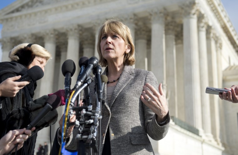 Massachusetts Attorney General Martha Coakley speaks to the media outside the US Supreme Court following oral arguments in the case of McCullen v. Coakley, dealing with a Massachusetts law imposing a 35-foot buffer zone around abortion clinics for demonst
