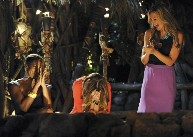 """""""Survivor: One World"""" contestants react during a live reunion show in New York."""