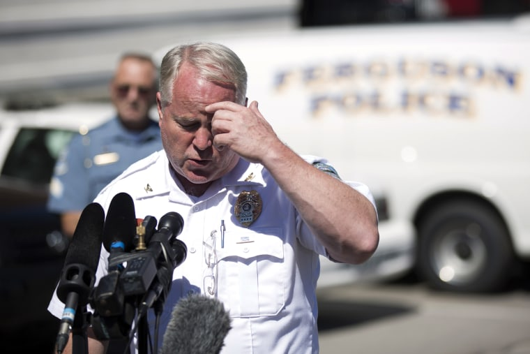 Police Chief Thomas Jackson speaks during a news conference at the police headquarters in Ferguson, Mo., Aug., 13, 2014.
