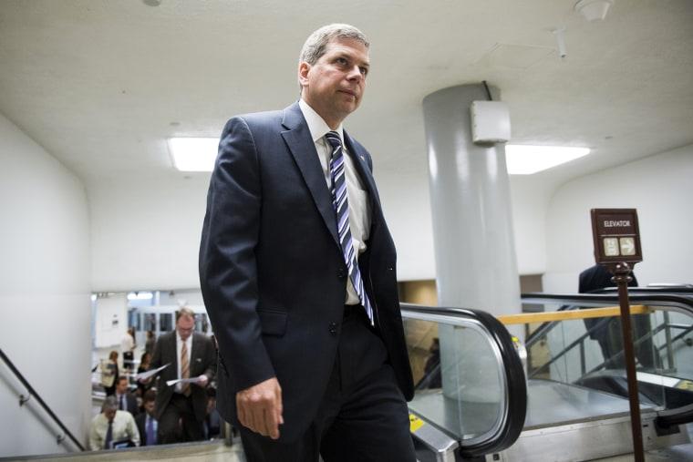 Sen. Mark Begich, D-Alaska, arrives in the Capitol for a vote on June 17, 2014, in Washington, D.C.