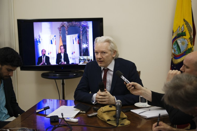 Julian Assange hosts press conference at the Ecuadorian Embassy in London