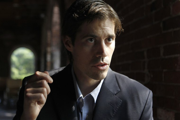 Journalist James Foley, of Rochester, N.H., responds to questions during an interview with The Associated Press